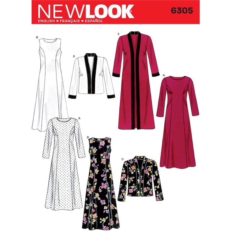 9c3e2ccb New Look 6305 - Kjole, Top med 4 forskellige variationer