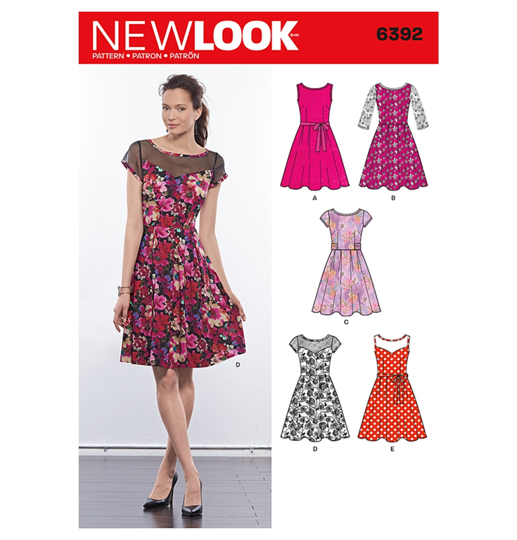 a20285a477e6 New look 6392 snitmønster til kjole (str 36-48)