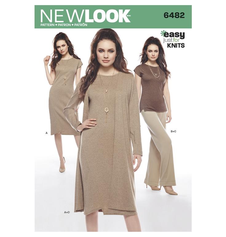 fda32718 New Look 6482 snitmønster til kjole, tunika, buks (str 36-48)