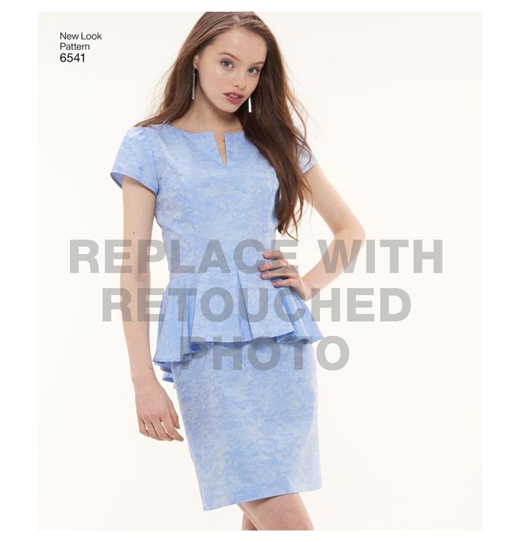 62b98fda New Look 6541 - peplum kjole med 3 variationer.