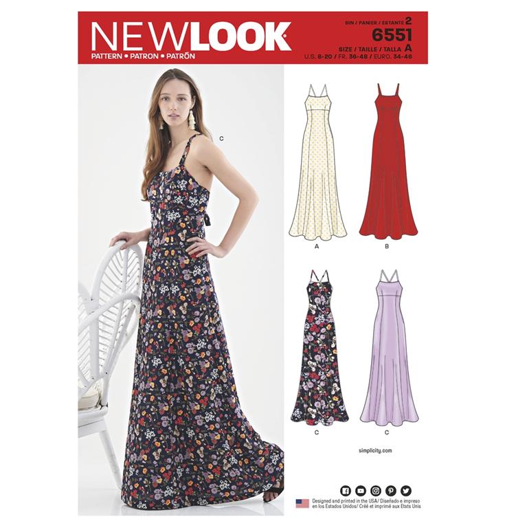43f01d30b0fb New Look 6551 snitmønster til lang kjole (str 34-46)