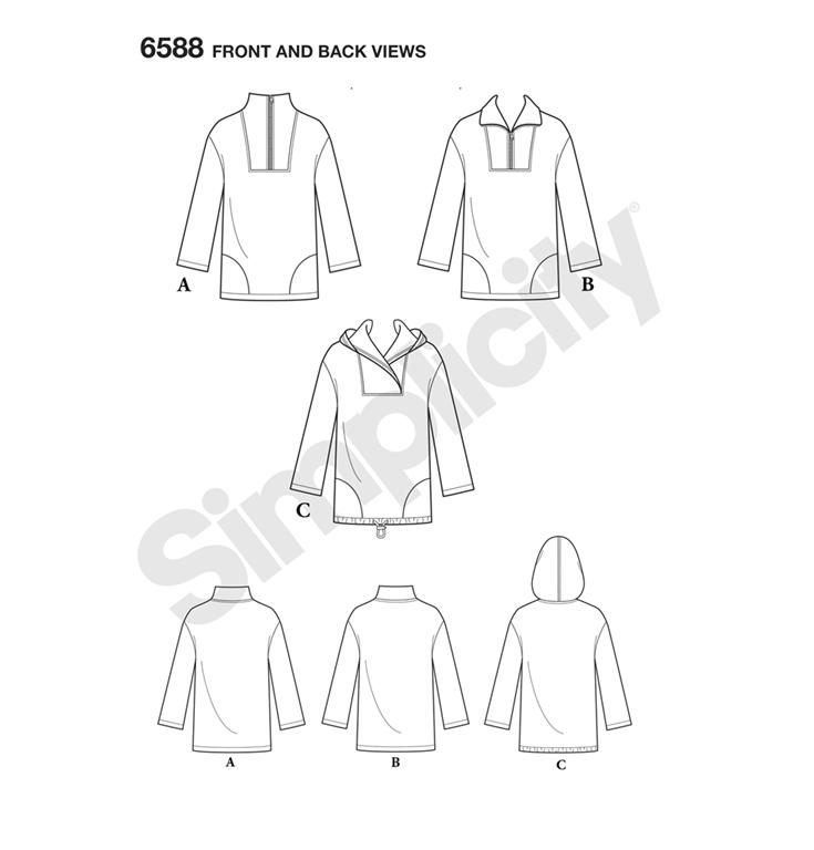 06336616 New Look 6588 - unisex jakke med 3 variationer.