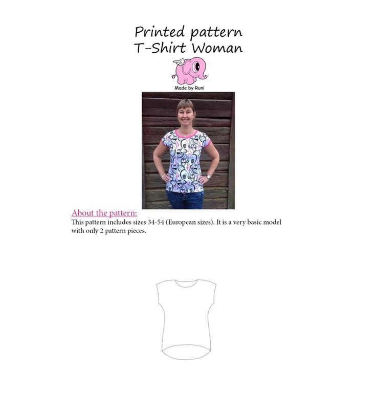 Made by Runi Snitmønster T shirt til kvinder Str. 34 54