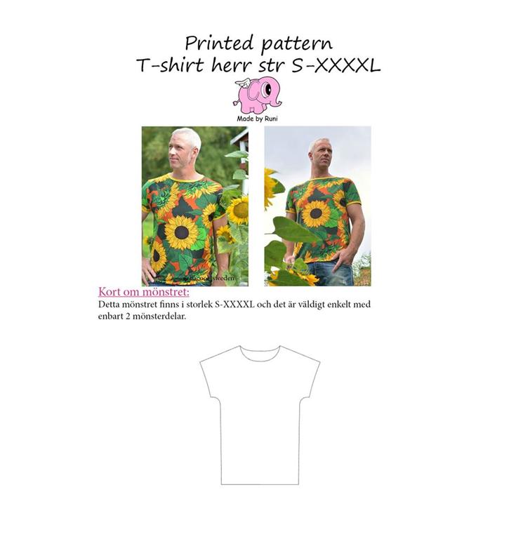 Made by Runi Snitmønster T shirt til mænd Str. S 4XL