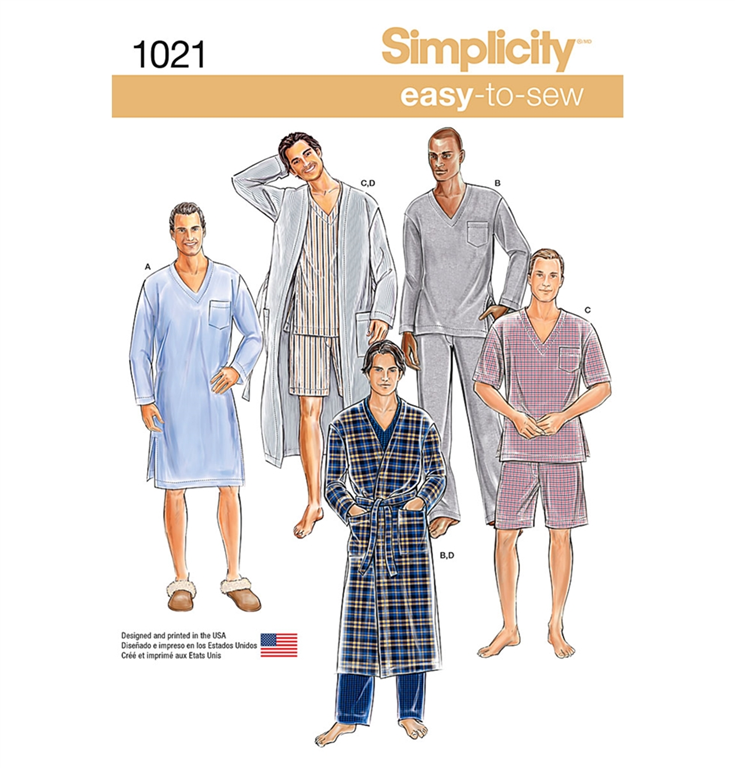2cd9c3db5 Simplicity 1021A - morgenkåbe, pyjamas, nattøj med 4 variationer.