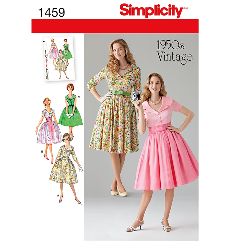 ac65f14e Simplicity 1459K5 - 50'er kjole med 3 variationer.