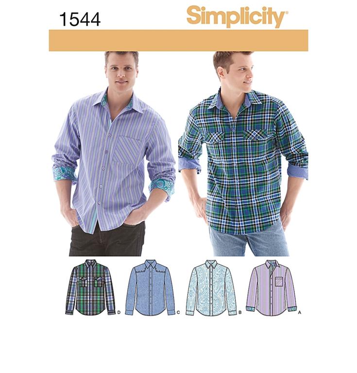 Simplicity 1544AA skjorte med 4 variationer.