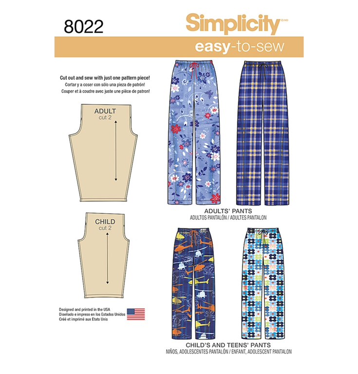 Simplicity 8022A bukser til børn og voksne med 1 variationer.