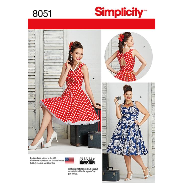 e74ff7ac Simplicity 8051BB snitmønster til kjole (str 46-54)