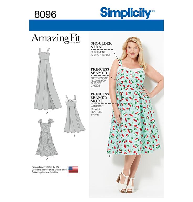 e72bd2a5b87 Simplicity 8096FF snitmønster til kjole (str 44-50)