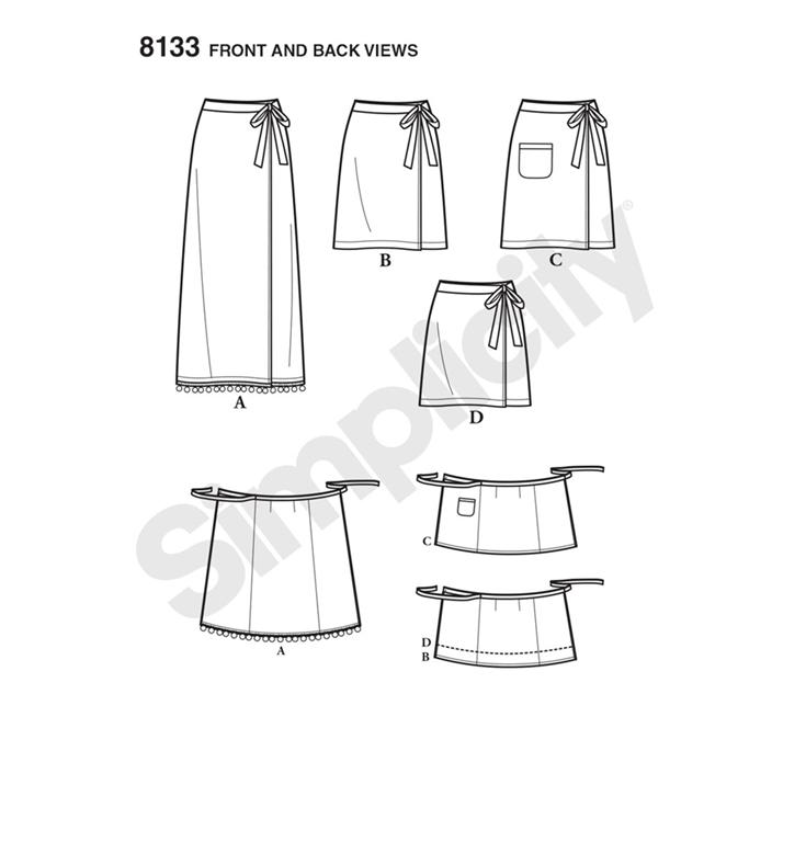 c4f2667ab27 Simplicity 8133A snitmønster til slå-om nederdel (str 32-44)