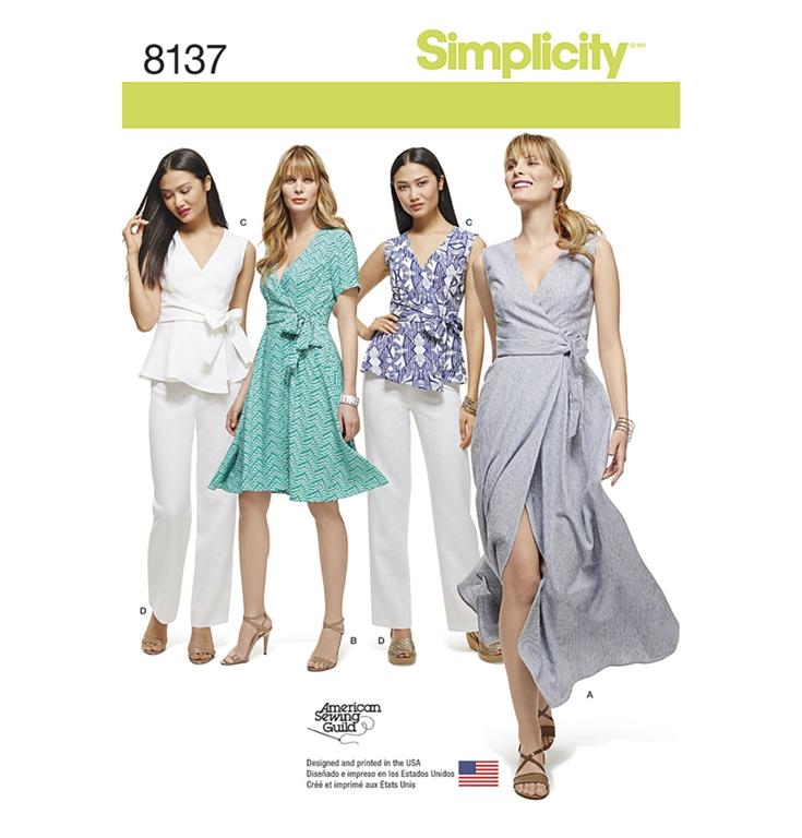 7f220d3d820 Simplicity 8137AA snitmønster til slå-om kjole, top, buks (str 36-
