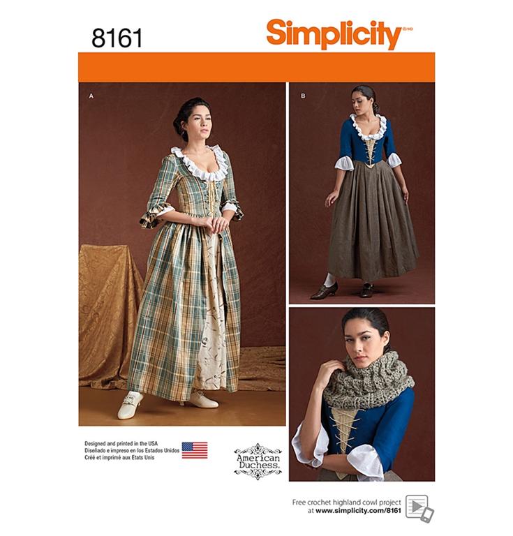 Simplicity 8161H5 18. århundrede kostume med 2 variationer.