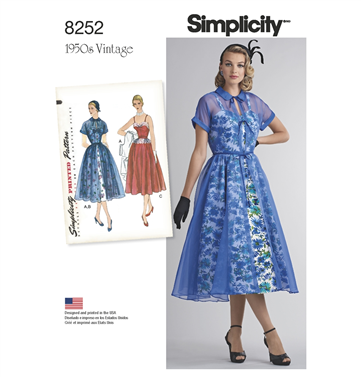 619149e1c501 Simplicity 8252d5 50er Kjole Med 3 Variationer