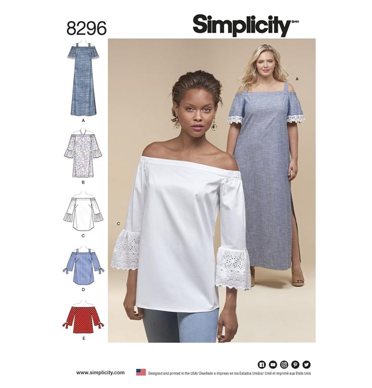 d9075281dc2 Simplicity 8296AA snitmønster til kjole, top, tunika (str 36-44)