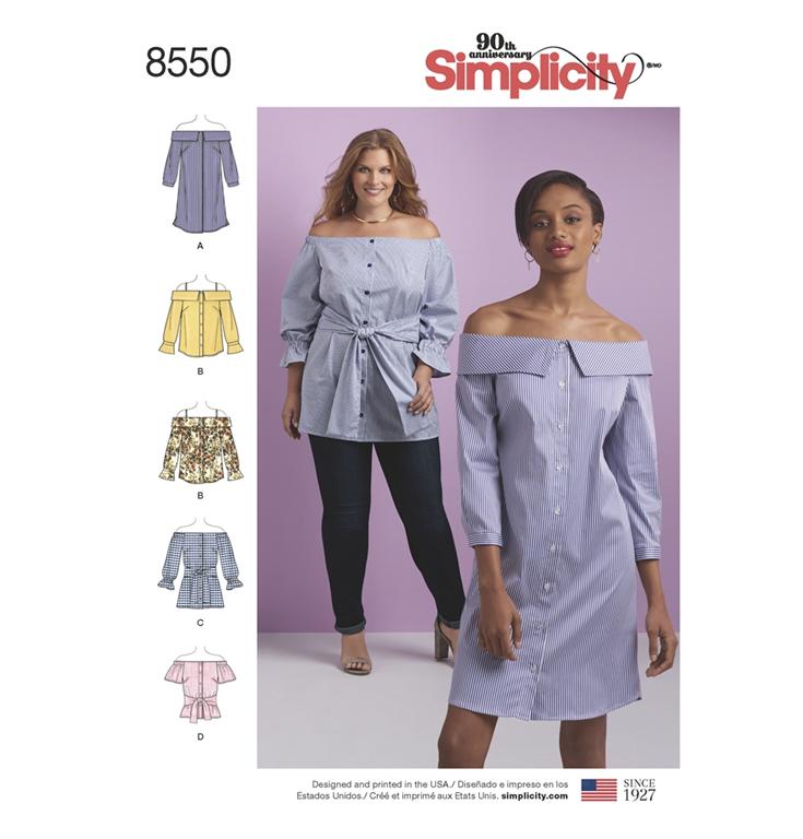 8c47367d51c Simplicity 8550AA snitmønster til kjole, tunika, top (str 36-44)