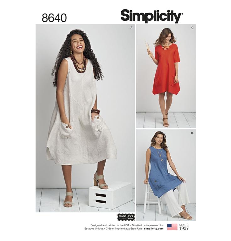 8995b08945c Simplicity 8640AA snitmønster til kjole, tunika (str 36-44)