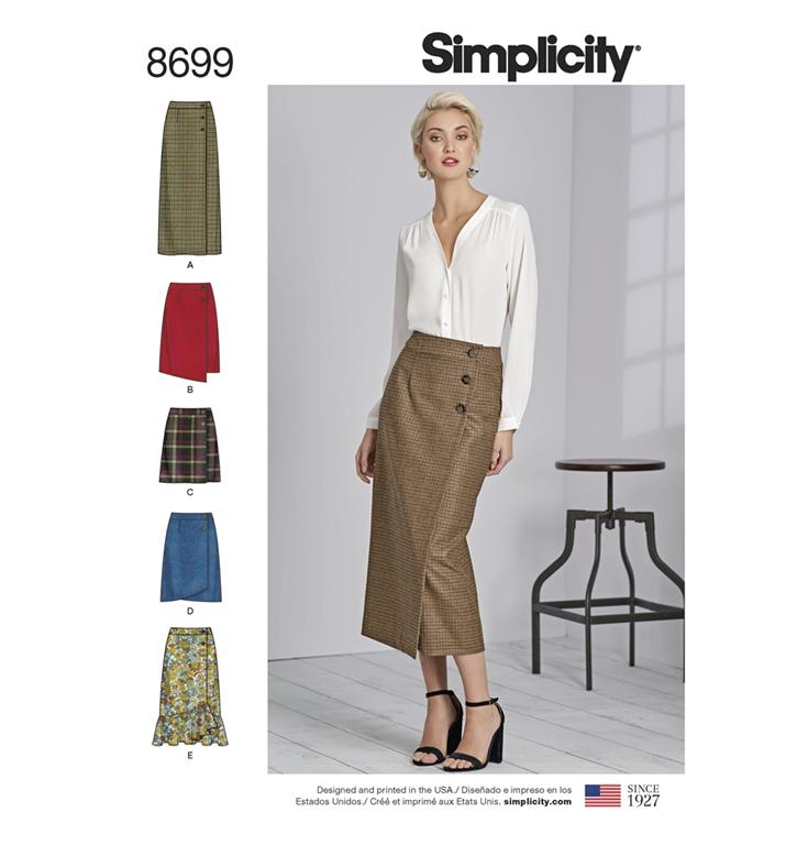 cb5d2b93d20 Simplicity 8699R5 snitmønster til slå-om nederdel (str 40-48)