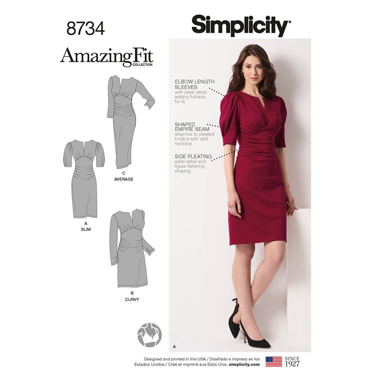 916eab868ee Simplicity 8734AA snitmønster til kjole (str 36-44)