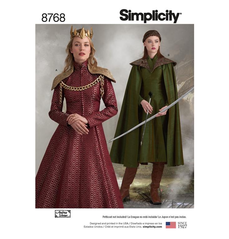 5b7be6ea Simplicity 8768R5 snitmønster til kostume eventyr prinsesse, elver (str  40-48)