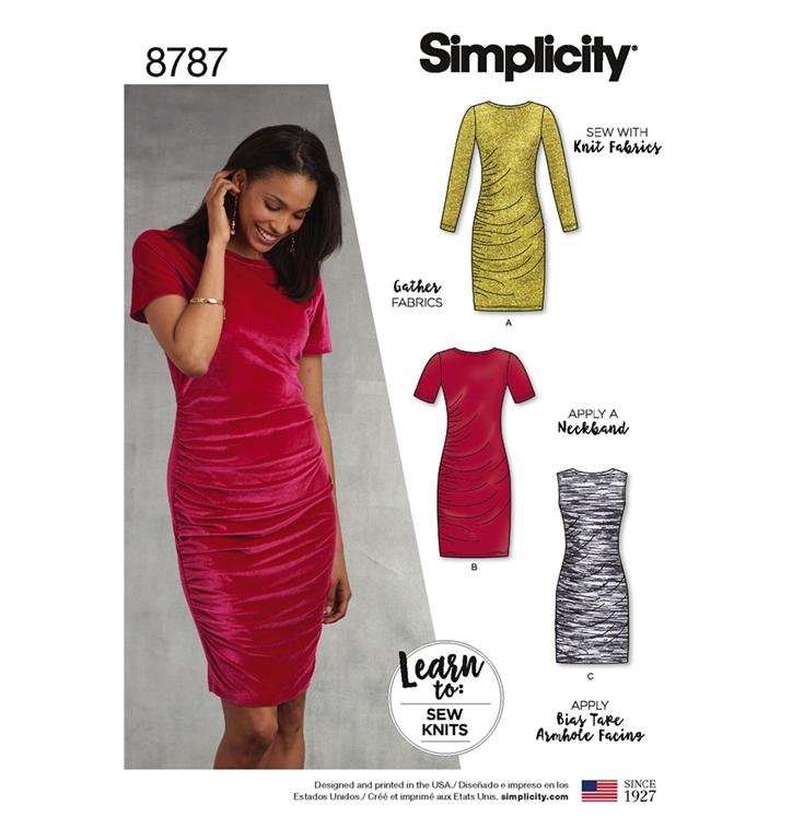 d2154ca7c8f Simplicity 8787A snitmønster til kjole (str 32-44)