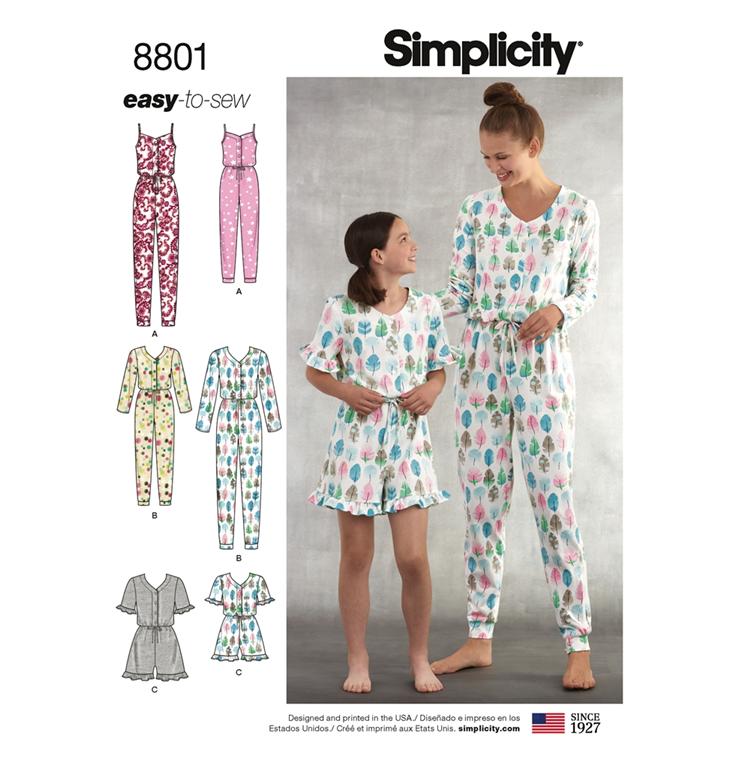 23042a492da Simplicity 8801A snitmønster til buksedragt til kvinder og piger (str 3-42)