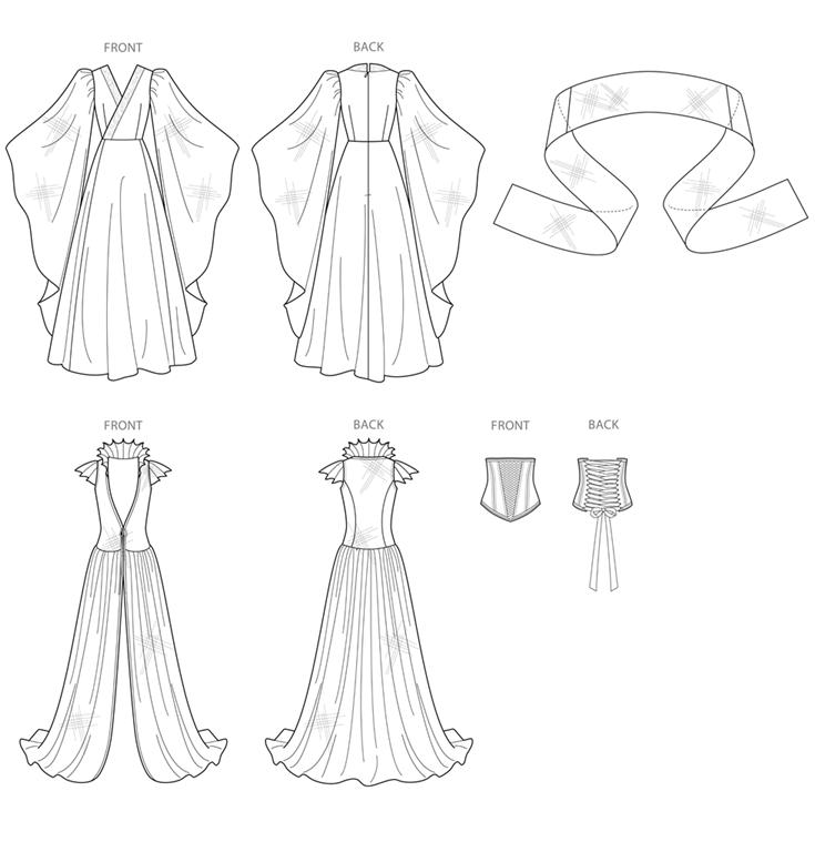 Simplicity S8971R5 fantasy kostume med 4 variationer.