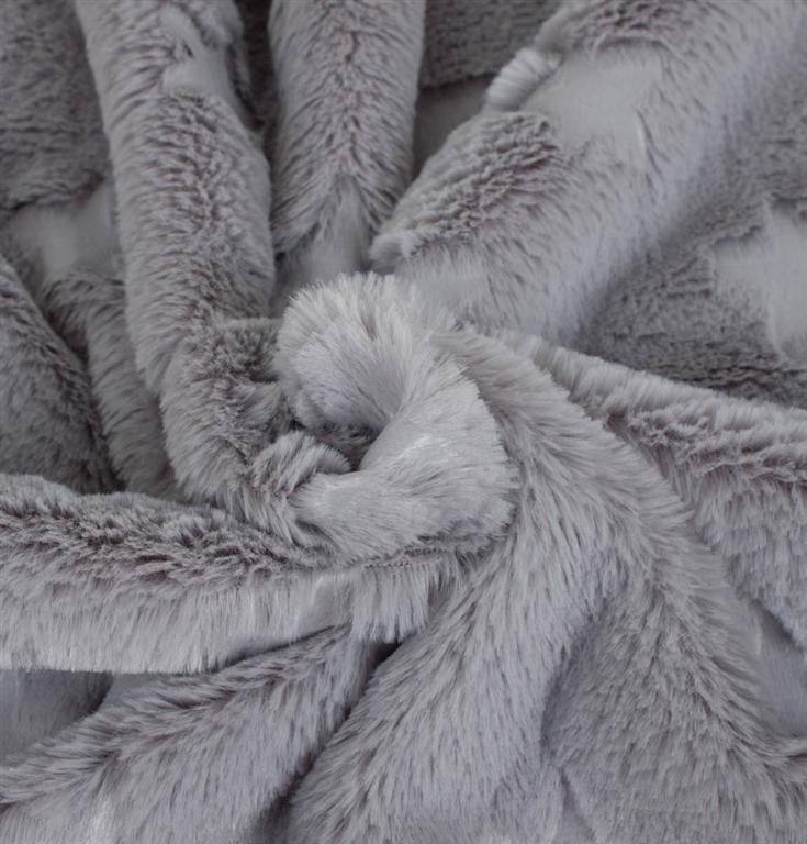 49795579 Imiteret pels i grå med stjerner - Stofgiganten.dk