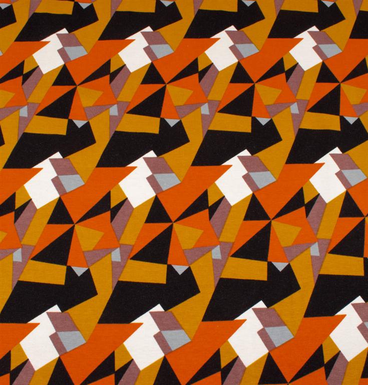 247ca036cae3c jersey med mønster i orange, brun, sort og hvid - gots certificeret