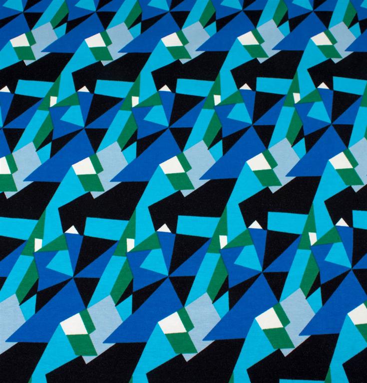 Mønstret jersey i blå, grøn og sort hos Stofgiganten.dk